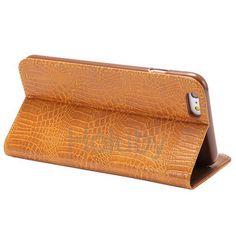 Automatische Saug-Krokodil-Muster-Halter-Standplatz-TPU   PU-Leder Tasche für iPhone 6 Plus 6S Plus-Braun