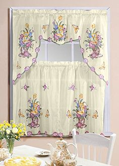 Kitchen Curtain Set Complete Tier & Swag Set Blossom Pattern Glamorous Swag Curtains For Kitchen Inspiration Design