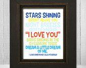 Dream a Little Dream of Me Print 8x10 - Song Lyric Nursery Print - Louis Armstrong Music Art Print - Choose Background Color. $20.00, via Etsy.