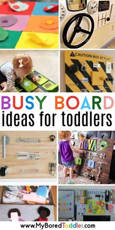 DIY busy boards for toddlers - 16 busy board ideas that you can make at home. #myboredtoddler #toddleractivity #busyboards #busyboard #finemotoractivity #diyresource #busyboardideas #finemotoractivity Busy Boards For Toddlers, Fun Activities For Toddlers, Board For Kids, Sensory Activities, Toddler Activities, Toddler Preschool, Toddler Busy Board, Jungle Activities, Busy Board Baby