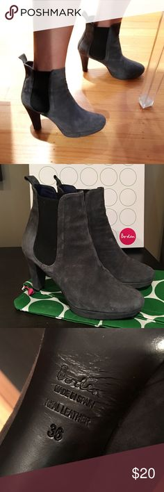 Boden heeled suede ankle boots Boden heeled ankle boots, great condition, beautiful color, super versatile, dress up or down. It's a little narrow. With dust bag! Boden Shoes Ankle Boots & Booties