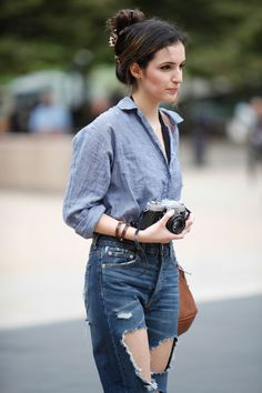 The Everygirl's NYFW Street Style Report #theeverygirl #denim on denim