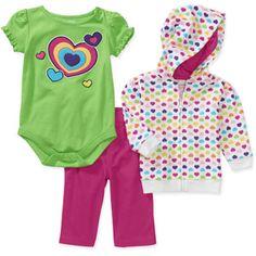 Garanimals Newborn Girls' 3-Piece Hoodie, Creeper and Pants Set