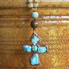 raw turquoise with copper on faceted citrine - hand knotted and one of a kind