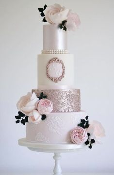 Featured Wedding Cake: Cotton & Crumbs; pink wedding cake idea #pinkweddingcakes