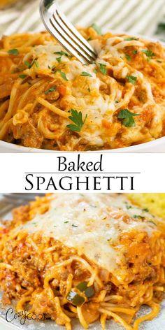 Easy Casserole Recipes, Easy Dinner Recipes, Winter Dinner Recipes, Easy Baked Spaghetti, Spaghetti Bake Recipe Easy, Baked Spaghetti Recipes, Chicken Spaghetti Bake, Baked Spaghetti And Meatballs, Baked Spaghetti Casserole