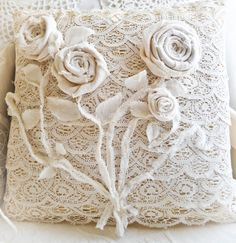 So shabby lace pillow with flowers rosettes