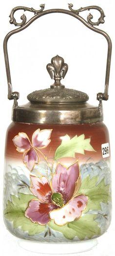 """9"""" WHITE & BROWN BRISTOL ART GLASS BISCUIT JAR W/ PINK"""