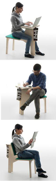 Multifunction table chair design by Matali Crasset.   Multifunctionele tafel stoel ontwerp van Matali Crasset.