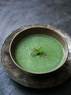 Nettle Soup ~ Vibrant green, luxurious nettle soup made with nettle tops, shallots, celery, potatoes, stock, cream.