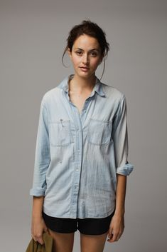 Laurel Stovall in Madewell's perfect chambray ex-boyfriend shirt