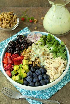 Chicken & Fresh Berry Salad with Buttermilk-Herb Dressing