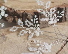 Bridal hair pins, bridesmaid hair pins, set of 3 hair pins, freshwater pearl, Swarovski, wedding hair accessories, pearl vine, crystal leaf