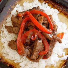 Pepper Steak with Peppers and Onion served over Rice | Smart Balance