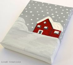 Original acrylic miniature painting on canvas,The Red Cabin, fall winter home decor on Etsy, $23.20