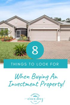 Are you considering purchasing an investment property? Make sure you look at these 8 things to look for when buying an investment property. Buying Investment Property, Rental Property, Investing, Investment Tips, Real Estate Business, Real Estate Investor, Real Estate Marketing, Home Buying Tips, Home Buying Process