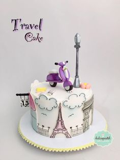 Parisian Cake - Torta Paris - cake by Giovanna Carrillo Paris Birthday Cakes, Paris Themed Cakes, Paris Cakes, Birthday Cakes For Women, My Birthday Cake, Beautiful Cakes, Amazing Cakes, Fondant Cakes, Cupcake Cakes