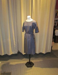 Gorgeous POLKA DOT Navy WIGGLE Dress by BeauMondeVintage on Etsy, $68.00