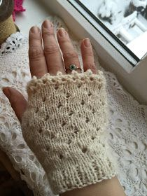 The Hand of Friendship Fingerless Mittens Using 3.5mm needles 1 ball of Angora Merino Bigwigs Yarn (50g) DK (1 ball makes two pairs) ...