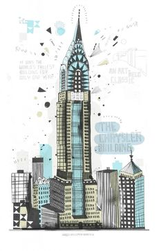 A cool graphic illustration of one of my great architectural loves, the Chrysler Building. Illustration by James Gulliver Hancock. Chrysler Building, Flatiron Building, Building Illustration, Graphic Illustration, Heart Illustration, Ciudad New York, New York Drawing, Nyc Drawing, Drawing Ideas