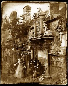 Greyfriars Cemetery Edinburgh mid19C ~ strange image - double exposure, possibly? ... or else the two women are getting a premature burial ... ??