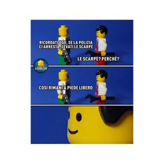 – Ricordati Ugo, se la polizia ci arresta, levati le scarpe.  – Le scarpe?! Perché?!  – Così rimani a piede libero.. Lego Humor, Lego Memes, Italian Memes, Lucci, Clash Royale, Vignettes, Cute Pictures, Funny Jokes, Fandoms