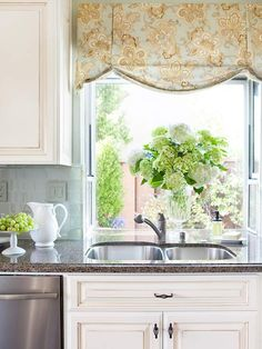 valance adds color to kitchen window