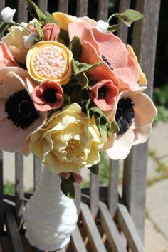 Felt Flower Wedding Bouquet. Custom Made For Each Bride  https://www.etsy.com/listing/188185759/felt-flower-wedding-bouquet-custom-made?ref=shop_home_active_3