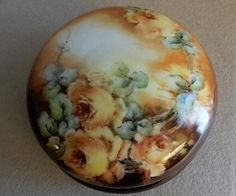 Royal Bayreuth Hand Painted Dresser/Jewelry Box w/Yellow Roses Motif