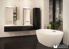 Stylish bathroom with Vanico Maronyx's modern black vanity / Sweet Home Collection Bathroom Renos, Master Bathroom, Bathroom Remodeling, Remodeling Ideas, Sweet Home Collection, Black Vanity, North York, Bathroom Medicine Cabinet, Medicine Cabinets