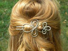 Silver Hair Brooch Hair Clip Hair Slide Silver by ElizabellaDesign, $22.50