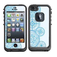 Skins FOR the Lifeproof iPhone 5 Original Case - Mandala collage design in teal ohm - Free Shipping Lifeproof Case NOT included on Etsy, $9.95