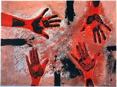 Rufino Tamayo (Mexican, 1899-1991), Manos en rojo [Hands in red], 1979. Etching on guarro paper, 22 x 30 in.