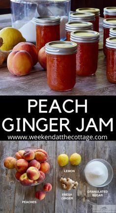 Ginger Jam, Ginger Peach, Fresh Ginger, Peach Recipes For Canning, Peach Jam Recipes, Homemade Jam Recipes, Peach Preserves Recipe, Jelly Recipes, Sauce Recipes