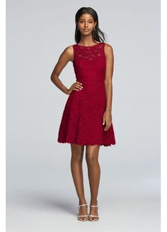 Short Sleeveless All Over Lace Bridesmaids Dress 2XLF18031  David's bridal not in sage but burgundy