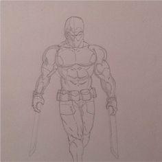 A rough outline sketch of Deadpool