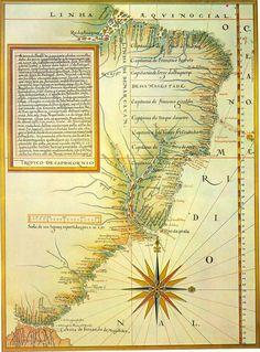 Capitanias hereditárias 1532-1549 (ano em que Tomé de Sousa assumiu o cargo de governador-geral) / Mapa de Luís Teixeira (c. 1574) com a divisão da América portuguesa em capitanias. A linha de Tordesilhas está deslocada dez graus mais a oeste