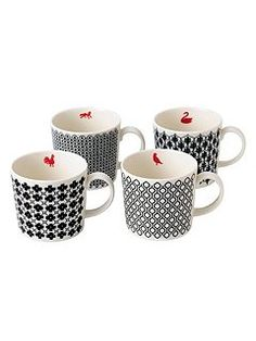 Charlene mullen mixed accents mugs, set of 4