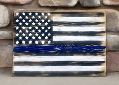 Support our Law Enforcement Officers with a Wooden Thin Blue Line Flag by ThurgoodsWoodGoods on Etsy