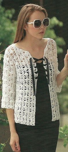 So pretty, but without ribbon ties. I would prefer crochet buttons with loops to fasten.