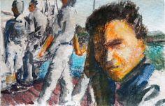 Taschenkunst 2017-38, watercolor on paper,  8,5 x 5,5 cm laminated, 2017.