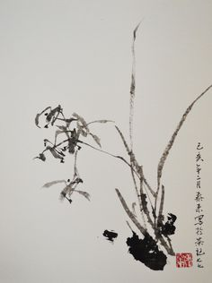 orchid chinese Japanese sumie ink painting office home Haus decor wall art Picture size: 38 x 28 cm Technique: Ink painting Color: Black Hand-painted unique Artist's signature and stamp Hand painted original Unikat direct from the artist´s Tailai Zhang Japanese Ink Painting, Japanese Watercolor, Chinese Landscape Painting, Chinese Painting, Watercolor And Ink, Watercolor Paintings, Edmund Dulac, Chinese Artwork, Japan Art