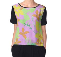 Falling Leaves in Soft Pastel Colours Chiffon Tops
