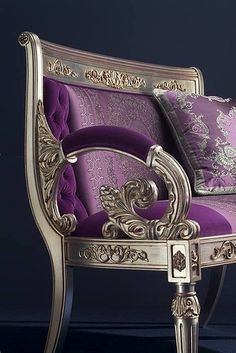 Versace chair in Italian silver and purple velvet . too good to sit on!