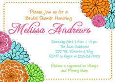Mod Blooms Bridal Shower Invitation Printable by 3PeasPrints, $16.00
