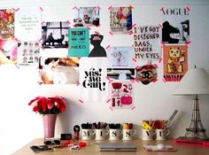 studio space. love the pink tape.