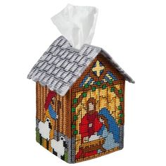 Craftways Nativity Tissue Box Plastic Canvas Kit Craftways