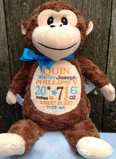 Monogrammed Baby Gift Monkey Birth by WorldClassEmbroidery on Etsy, $37.99