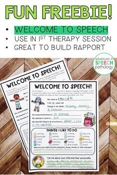 Do you want to start your first speech therapy session knowing what activities your child enjoys so that they are motivated? This is a great sheet to give to students for their first speech therapy session, or during an initial assessment of evaluation. It's a free download to help you build rapport in your speech therapy session. Articulation Therapy, Articulation Activities, Speech Therapy Activities, Language Activities, Speech Language Pathology, Speech And Language, Speech Delay, Play Therapy Techniques