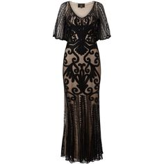 Phase Eight Collection 8 Marseilles Tapework Dress, Black/Nude ($200) ❤ liked on Polyvore featuring dresses, gowns, evening maxi dresses, deep v neck dress, mini dress, tie-dye maxi dresses and long-sleeve midi dresses